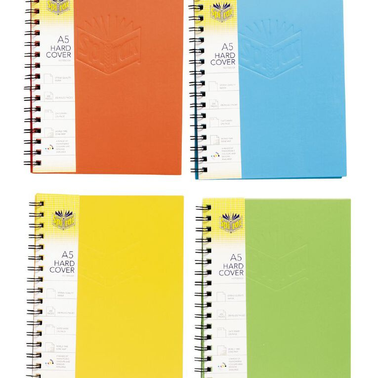 Spirax Notebook 511 Wiro Hardcover 200pg A5 Assorted, , hi-res