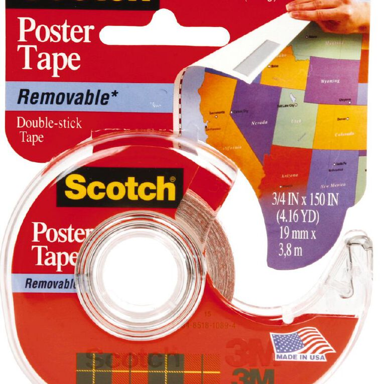Scotch Poster Tape 109 Removable 19mm x 3.81m Clear, , hi-res