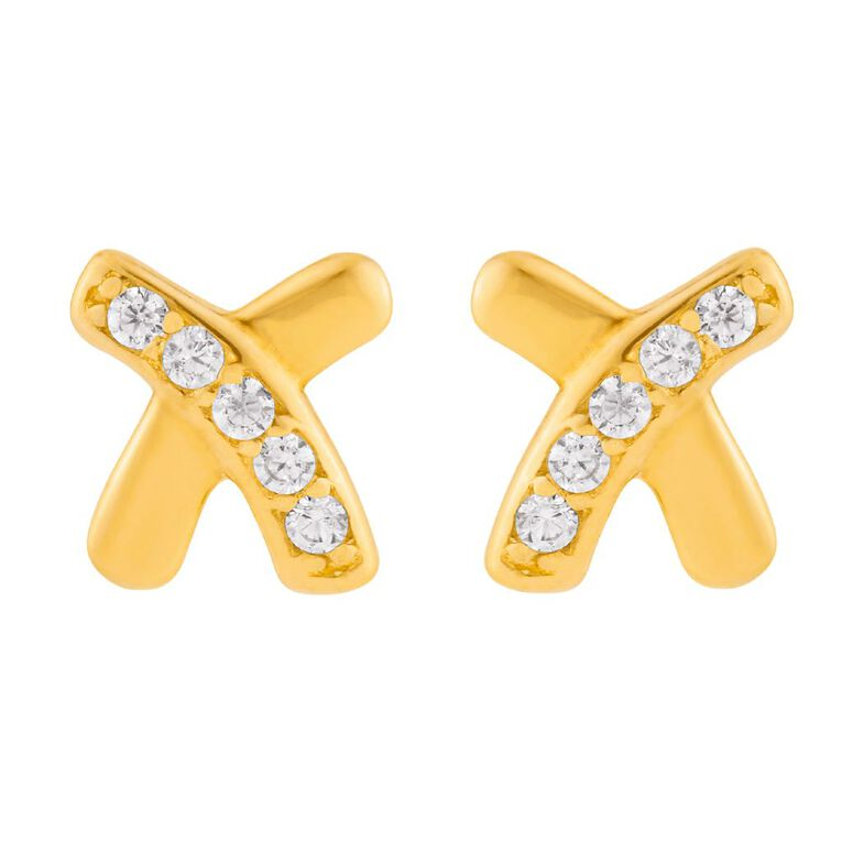 9ct Gold CZ Micro Set Kiss Stud Earrings, , hi-res