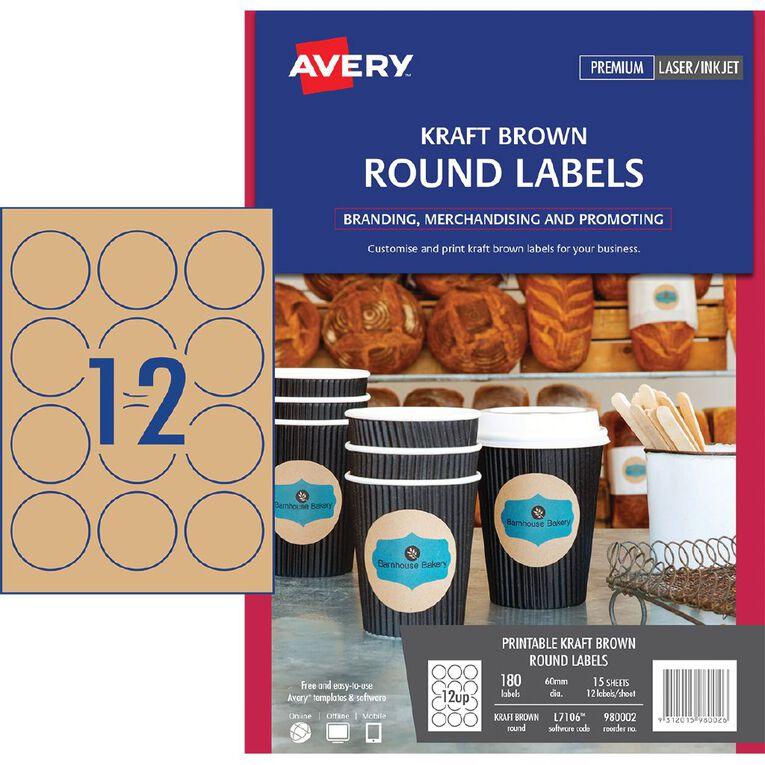 Avery Round Labels Kraft Brown 60mm Diameter 180 Labels, , hi-res