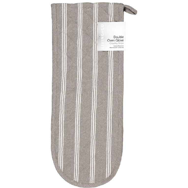 Living & Co Double Oven Glove Country Stripe Charcoal 90cm x 17cm, , hi-res