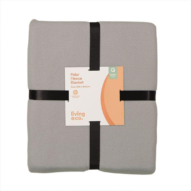 Living & Co Blanket Polar Fleece Grey Queen, , hi-res