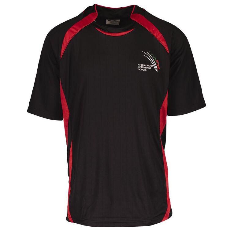 Schooltex Chisnalwood Intermediate PE Tee with Embroidery, Black/Red, hi-res