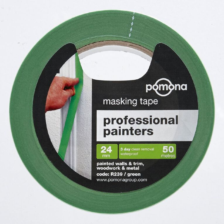 Pomona Masking Tape Professional Painters 3 Day 24mm x 50m Green, , hi-res