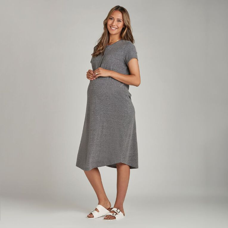 H&H Maternity Nursing Friendly Henley Dress, Black/White, hi-res