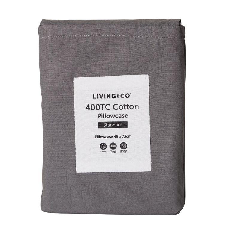 Living & Co Pillowcase Standard Cotton 400 TC Charcoal 48cm x 73cm, Charcoal, hi-res