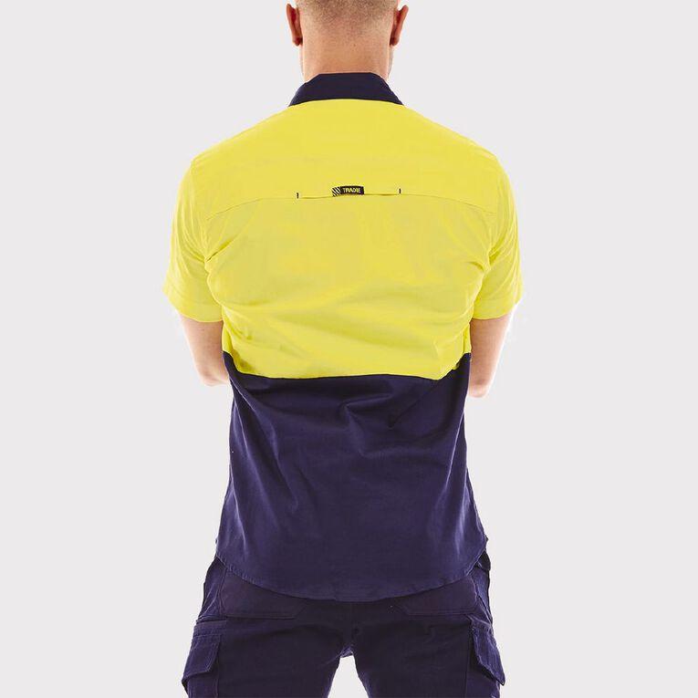 Tradie Hi Vis Short Sleeve Work Shirt, Navy, hi-res