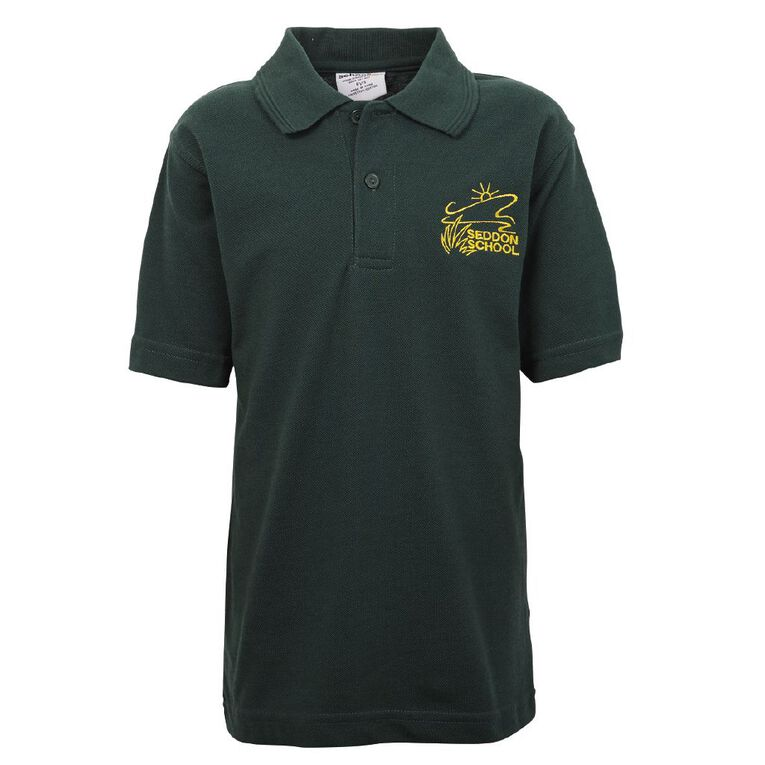Schooltex Seddon Short Sleeve Polo with Embroidery, Bottle Green, hi-res