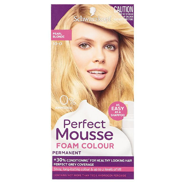 Schwarzkopf Perfect Mousse Hair Colour 10-0 Pearl Blonde, , hi-res