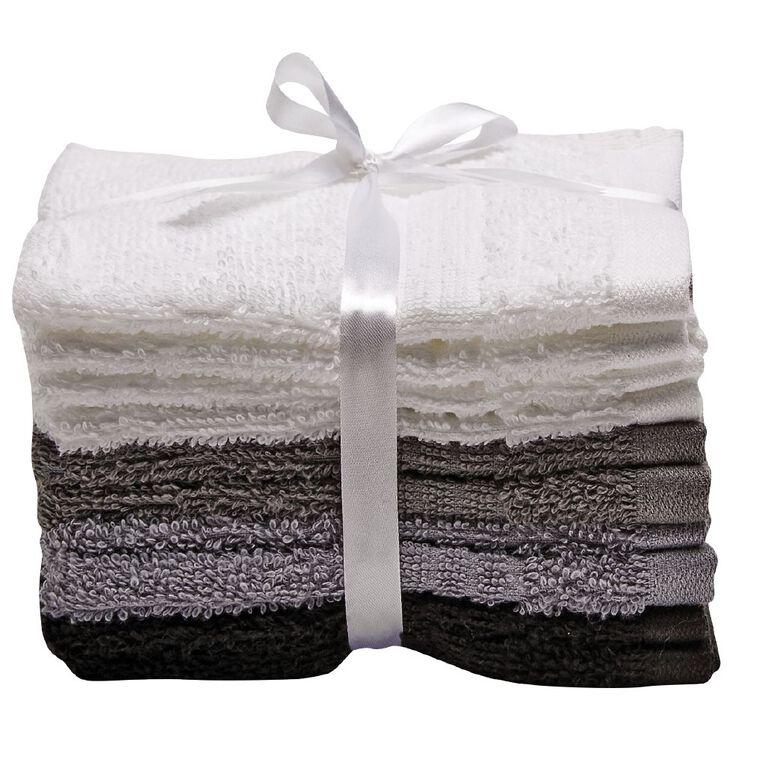 Living & Co Manhattan Face Towel 10 Pack Multi-Coloured 30cm x 30cm, Multi-Coloured, hi-res