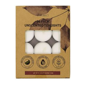 Living & Co Eco Unscented 8hr Tealights White 24 Pack