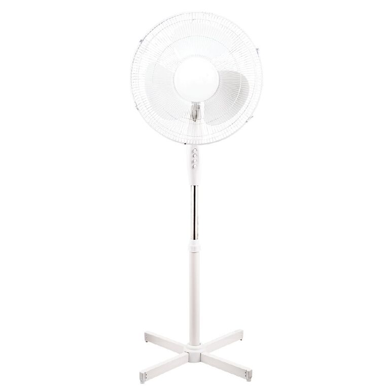 Living & Co Pedestal Fan 40cm White, , hi-res