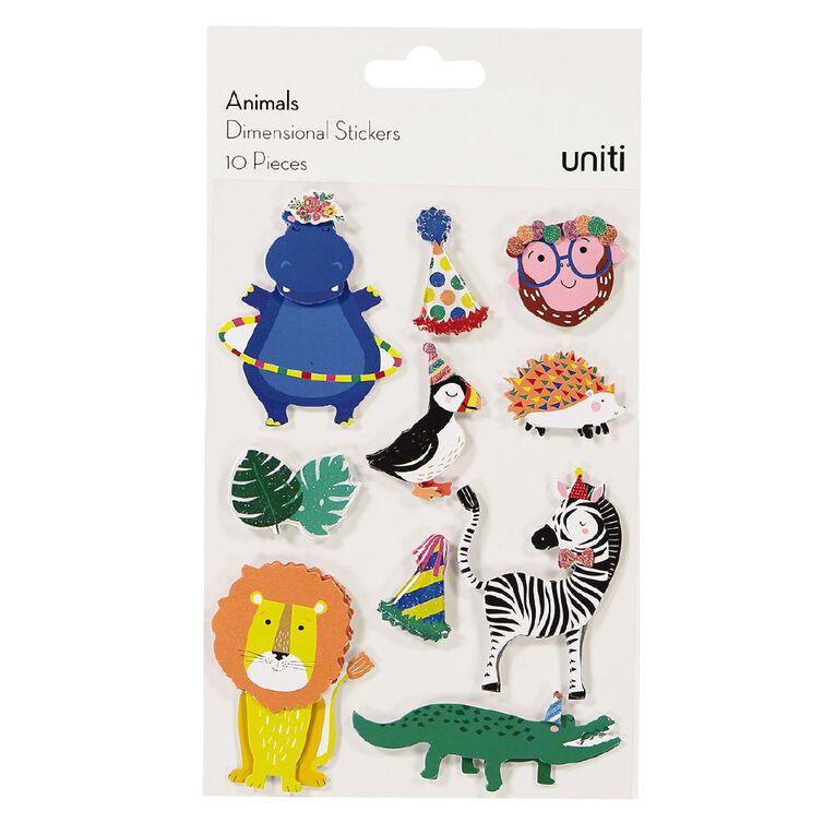 Uniti Dimensional Stickers Animals, , hi-res