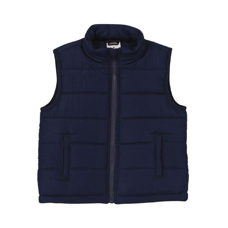 Young Original Plain Puffer Vest, Navy, hi-res