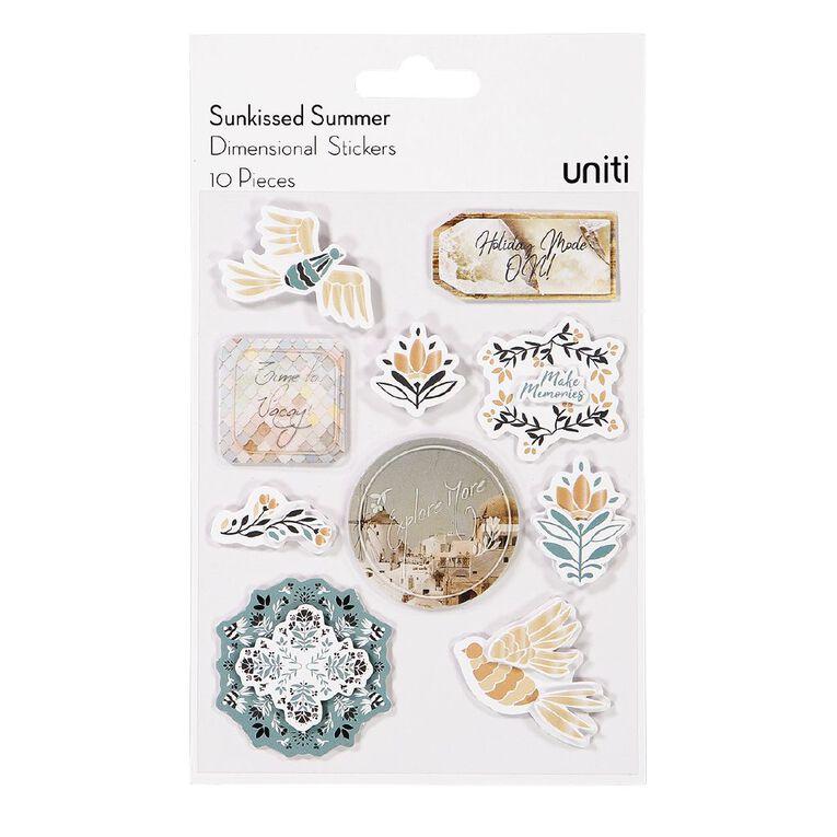 Uniti Sunkissed Summer Dimensional Stickers, , hi-res