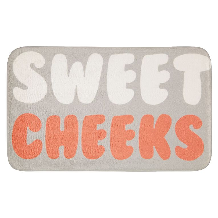 Living & Co Bath Mat Printed Foam Sweet Cheeks Grey 45cm x 75cm, Grey, hi-res image number null