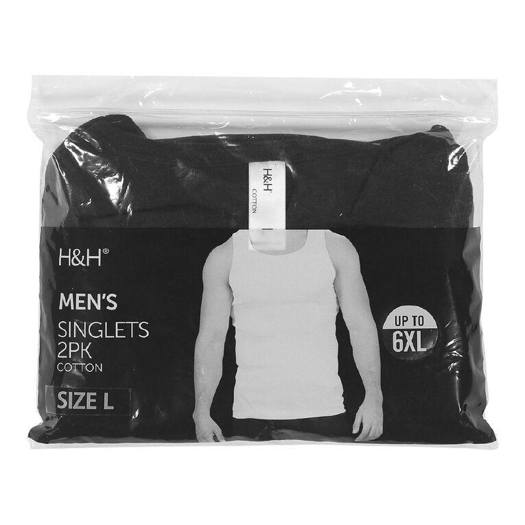 H&H Men's Singlets 2 Pack, Black, hi-res