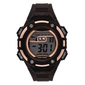 Active Intent Women's Sports Digital Watch Black Rose Gold