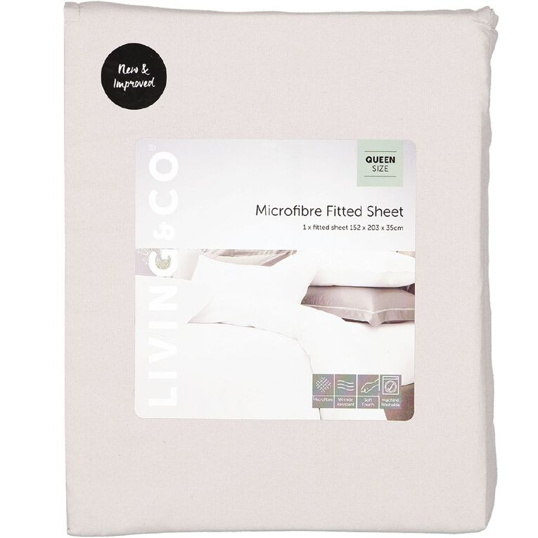Living & Co Sheet Fitted Microfibre Grey King, Grey, hi-res image number null