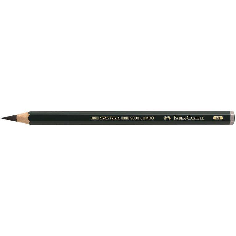 Faber-Castell Drawing Pencil 9000 Jumbo 6B Black, , hi-res