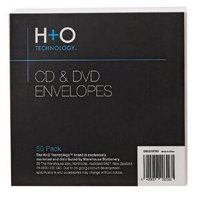 H+O White Paper Envelope For Single Disc 50-Pack