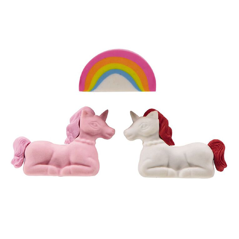 Kookie Novelty Eraser Set Multi-Colour 3 Pieces, , hi-res