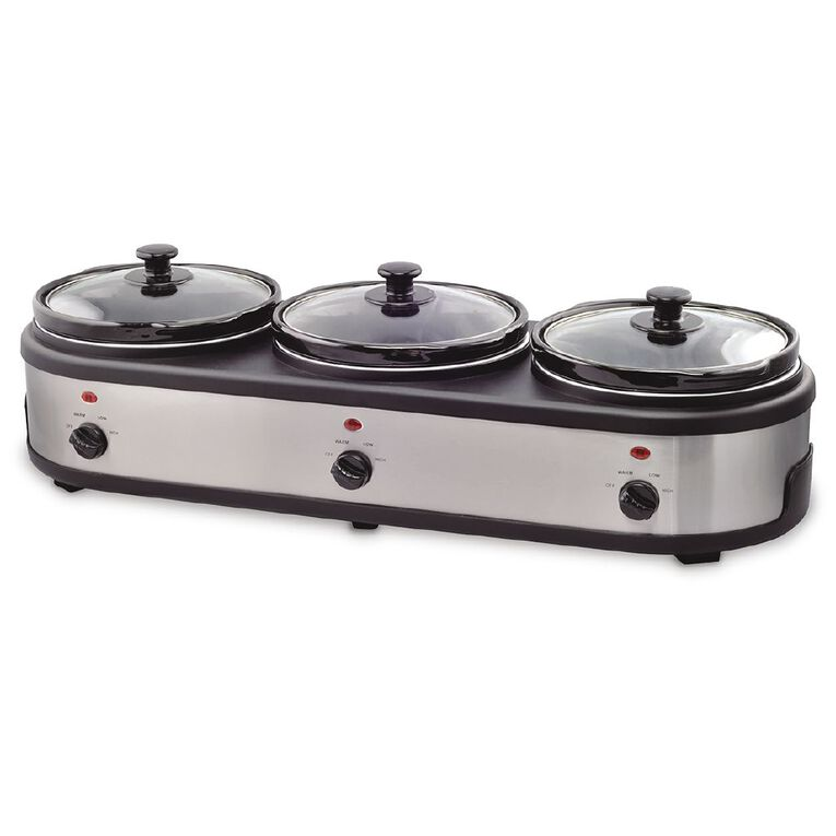 Living & Co Triple Bowl Slow Cooker, , hi-res