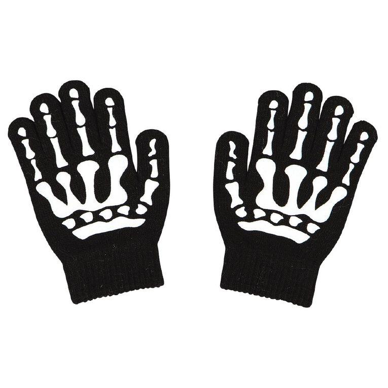 Young Original Kids' Skeleton Gloves, Black, hi-res