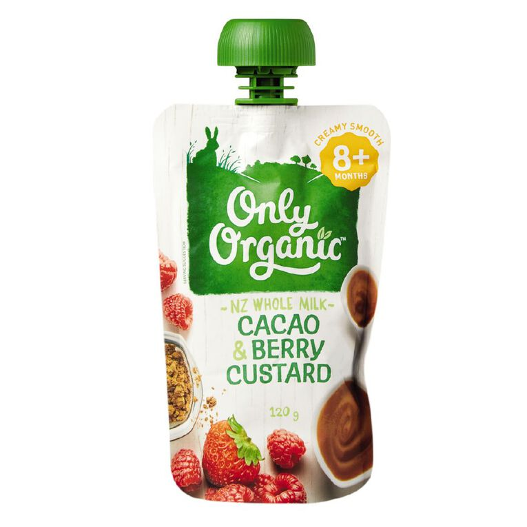 Only Organic Cacao and Berry Custard Pouch 120g, , hi-res