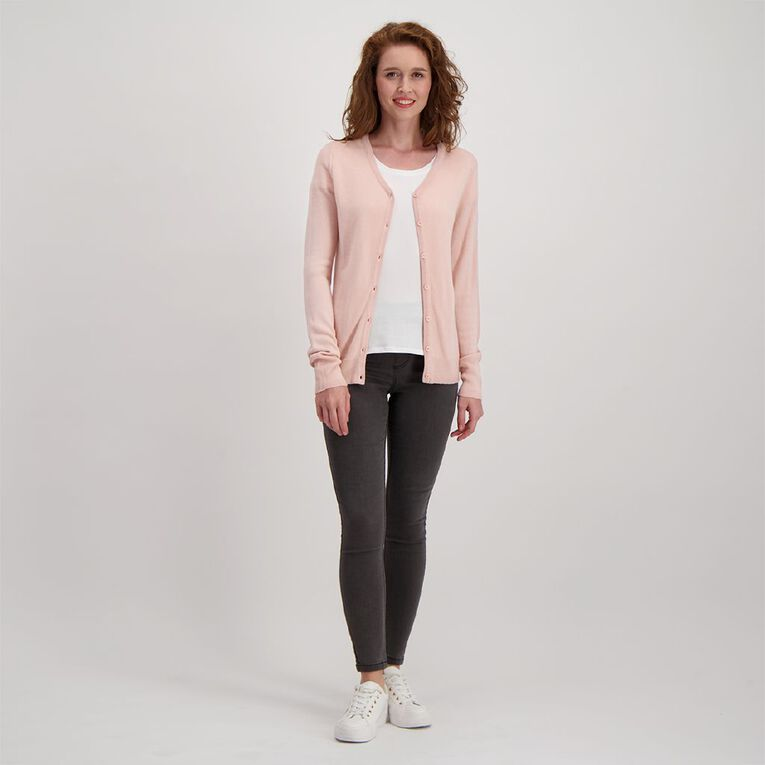 H&H Women's Button Through Cardigan, Pink, hi-res image number null