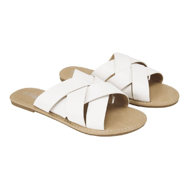 H&H Women's 4 Crossover Strap Sandals, White, hi-res