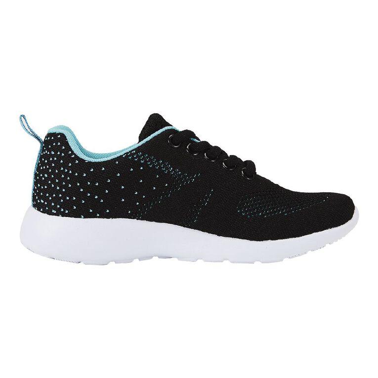 Active Intent Girls' Jacquard Knit Shoes, Black/TURQ, hi-res
