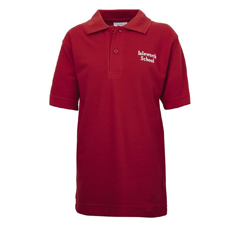 Schooltex Isleworth Short Sleeve Polo with Screenprint, Red, hi-res