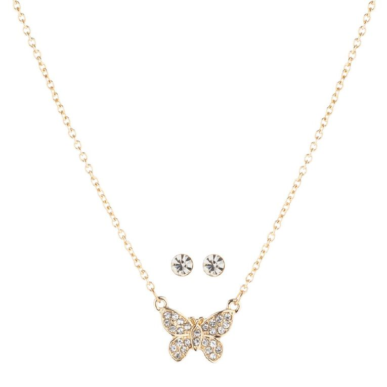 Kids' Butterfly Earrings and Necklace Set, , hi-res