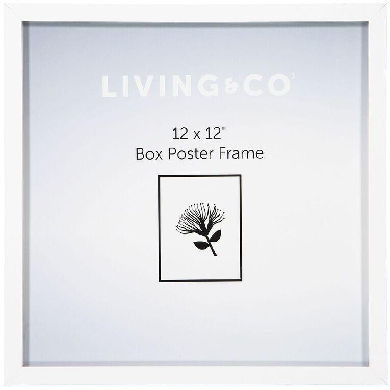 Living & Co Box Poster Frame White 12in x 12in, White, hi-res