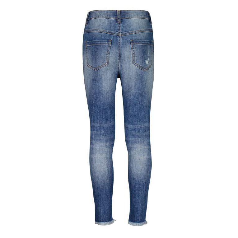 Young Original Girls' HW Distressed Jeans, Blue Mid, hi-res
