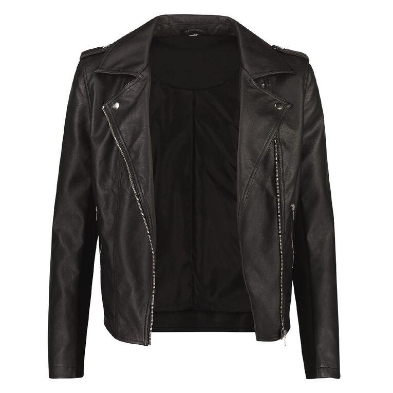 H&H Women's PU Biker Jacket, Black, hi-res