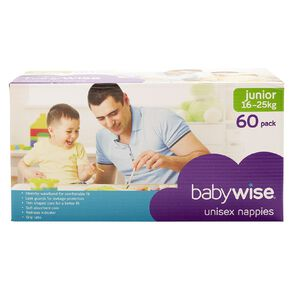 Babywise Jumbo Nappies Junior 60 Pack