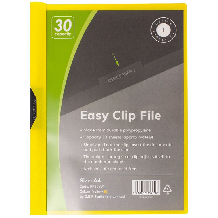 Office Supply Co Easy Clip File 30 Capacity Yellow A4, , hi-res