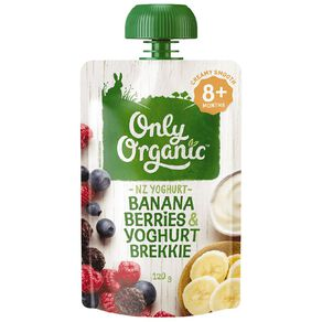 Only Organic Banana Berries & Yoghurt Pouch 120g