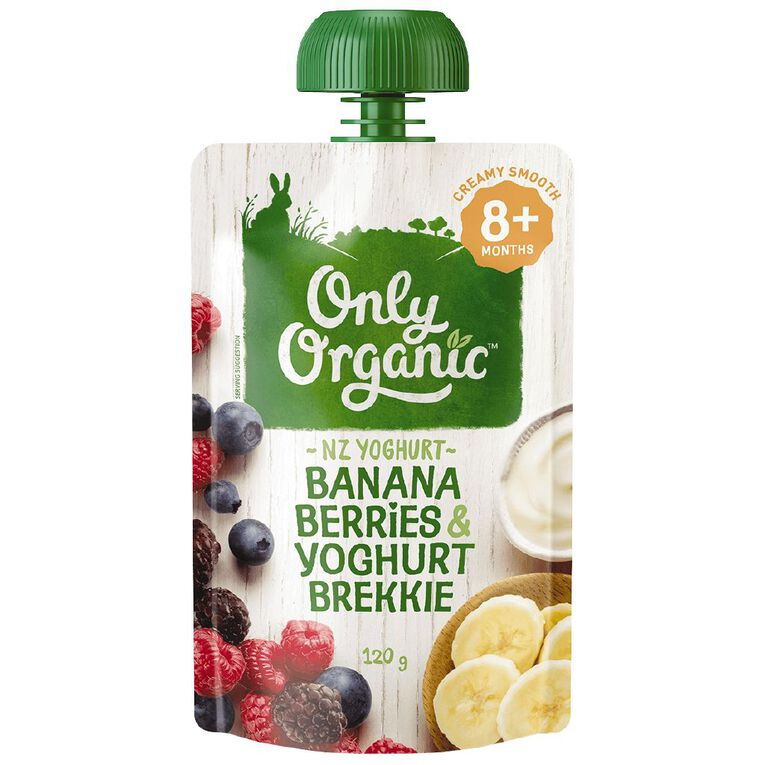 Only Organic Banana Berries & Yoghurt Pouch 120g, , hi-res