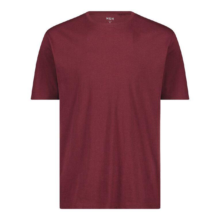 H&H Men's Crew Neck Short Sleeve Plain Tee, Red Dark, hi-res