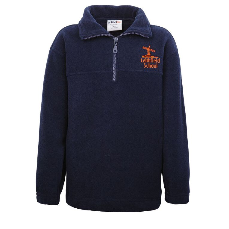 Schooltex Leithfield School Polar Fleece Top with Embroidery, Navy, hi-res