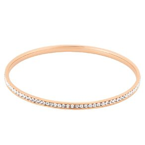 Stainless Steel Rose Gold Plated CZ Channel Bangle
