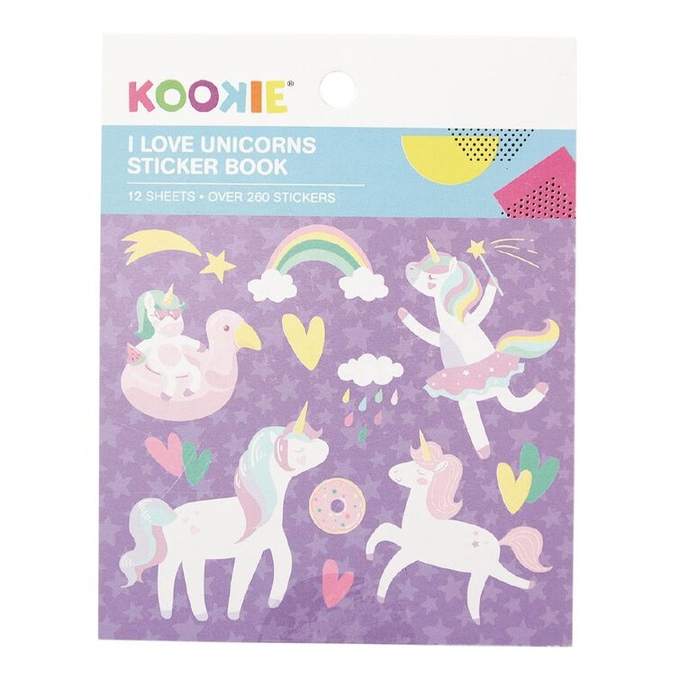 Kookie Mini Sticker Book 12 Sheets I Love unicorns, , hi-res