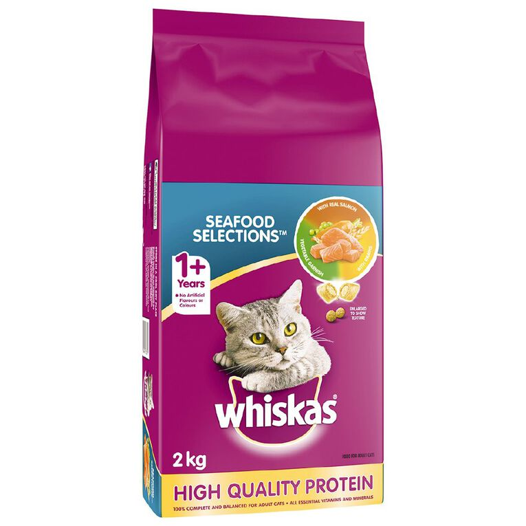 Whiskas Adult Dry Cat Food Seafood Selections  2kg, , hi-res