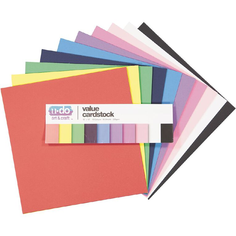 Uniti Value Cardstock Smooth 220gsm Bright's 60 Sheets 12in x 12in, , hi-res