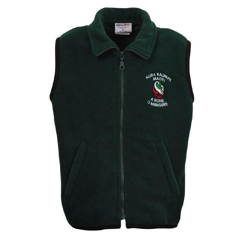 Schooltex TKKM O Mangere School Polar Fleece Vest with Embroidery, Bottle Green, hi-res