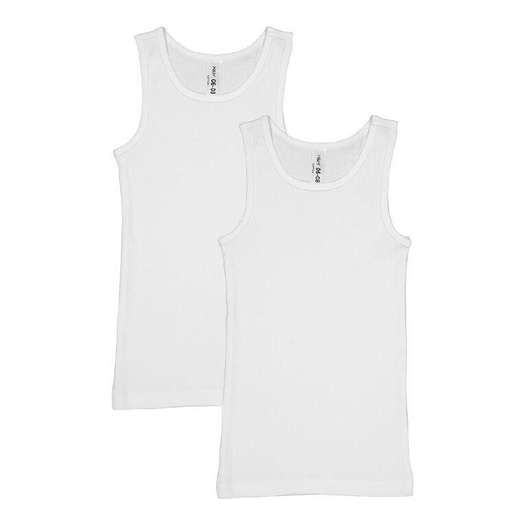 H&H Boys' Essential Singlet 2 Pack, White, hi-res