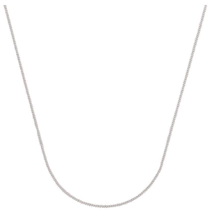 Sterling Silver Diamond Cut 40 Gauge Curb Chain 50cm, , hi-res